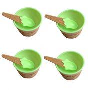 Kit com 4 Taças de Sorvete Plástico com Colher Verde