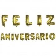 Kit com Balões Metalizado - Feliz Aniversário - Dourado
