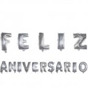 Kit com Balões Metalizado - Feliz Aniversário - Prata