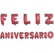 Kit com Balões Metalizado - Feliz Aniversário - Vermelho