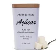 Lata Decorativa Quadrada De Metal Para Açúcar