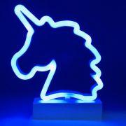Luminária Unicórnio LED Azul à Pilha
