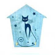 Mini Porta Chaves com 02 Ganchos – Gato Azul