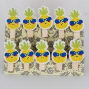 Mini Prendedores Decorados Abacaxi- kit 10 peças