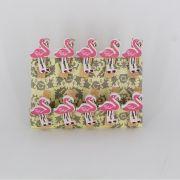 Mini Prendedores Decorados Flamingo- Kit 10 peças