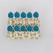 Mini Prendedores Decorados Folha Azul- kit 10 peças