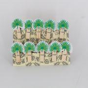 Mini Prendedores Decorados Folhagem Verde- kit 10 peças
