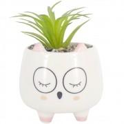 Mini Vaso com Planta Artificial - Gatinha com Óculos