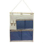 Moldura Organizadora Azul com Bolinha Branca- 4 nichos