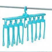 Organizador de Cabides Multifuncional 08 cabides - Azul