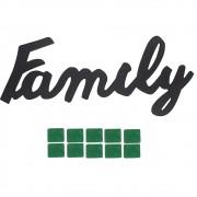 Palavra Decorativa em MDF Preto - Family