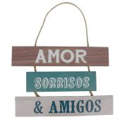 Placa Decorativa em Madeira Amor, Sorrisos e Amigos 16,5x24