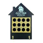 Porta Cápsulas de Café - Casa - 12 compartimentos - Preto