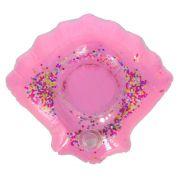 Porta Copo Boia Inflável - Concha Glitter Rosa