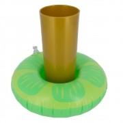 Porta Copo Boia Inflável - Limão Verde