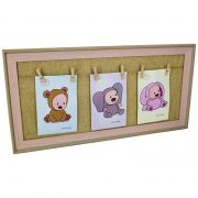 Porta Retrato Bebê Rosa com Prendedor