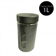 Pote de Vidro Revestido Inox 1L Cinza