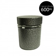 Pote de Vidro Revestido Inox 600Ml Cinza