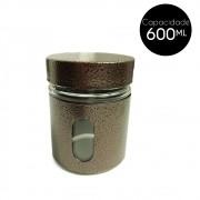 Pote de Vidro Revestido Inox 600Ml Cobre