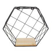 Prateleira Hexagonal 29cmx25.5cmx11cm Preta em Metal e Madeira