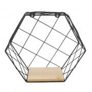 Prateleira Hexagonal 29x25x10cm Preta Em Metal E Madeira