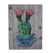 Quadro Decorativo – Cacto com flores (Xicara Azul) MDF