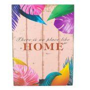 Quadro Decorativo – HOME (Folhas Coloridas) MDF
