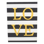 Quadro Love Amarelo com Fundo Listras Preto Branco Glitter
