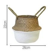 Seagrass Cesta Vaso Dobrável De Palha Flor  Branca