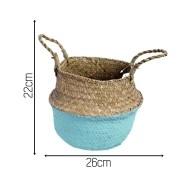 Seagrass Cesta Vaso Dobrável De Palha Flor Verde