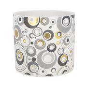 Vaso Cerâmica - Círculos Dourado Branco Cinza - 12,5 x 11cm