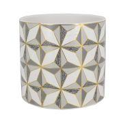 Vaso Cerâmica Quadrados Geométricos Dourado Bco CZ 12x11