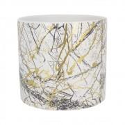 Vaso Cerâmica Riscos Dourado E Preto Fundo Branco 12,5x11cm