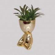 Vaso Para Planta Robert Plant Perna Cruzada - Dourado