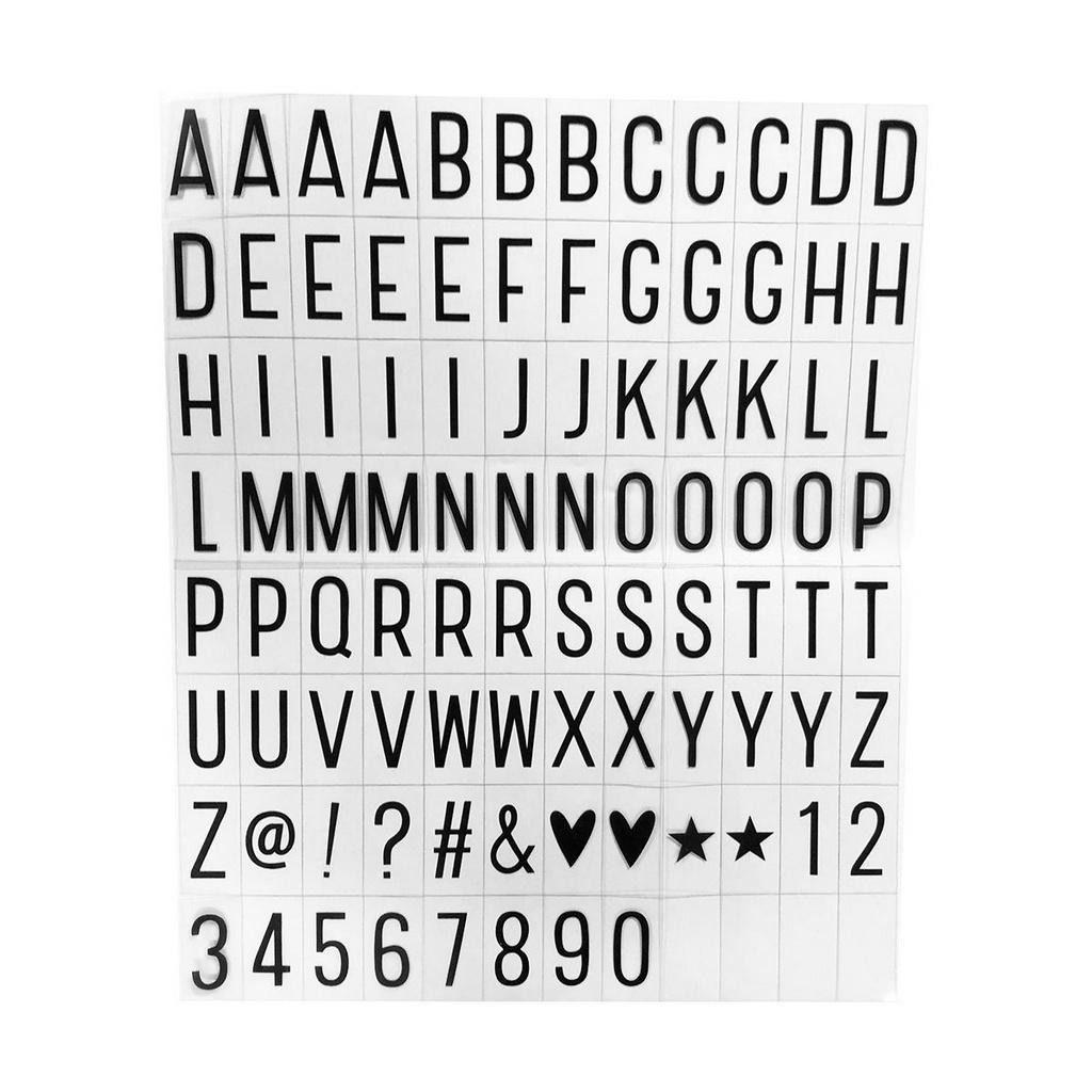 96 Letras Pretas para Luminária Letreiro De Cinema Lightbox A4