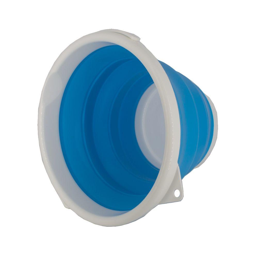 Balde Dobrável Retrátil de Silicone Grande 10L Azul e Branco  - Shop Ud