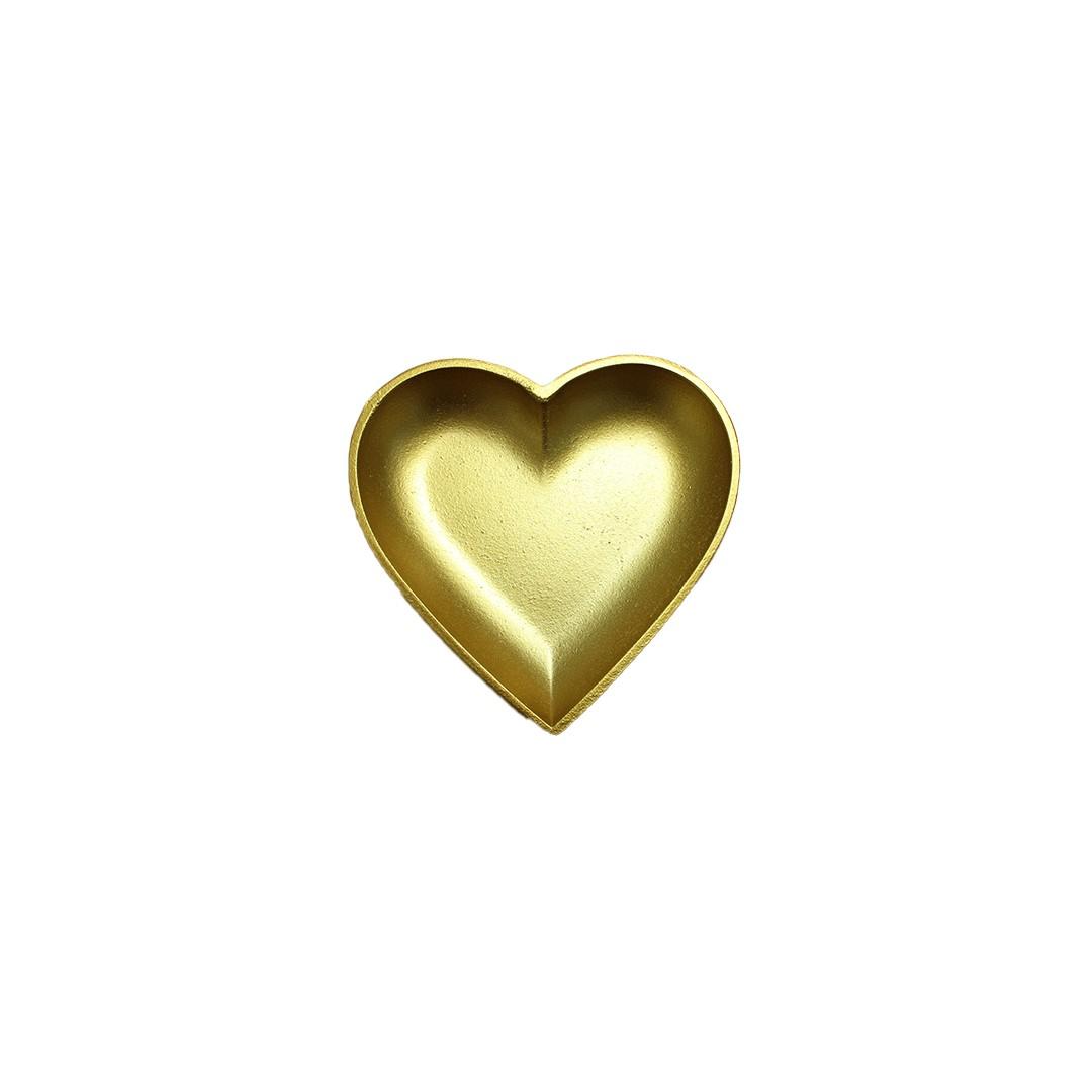 Bandeja Decorativa De Madeira Coração Dourado 15cm  - Shop Ud