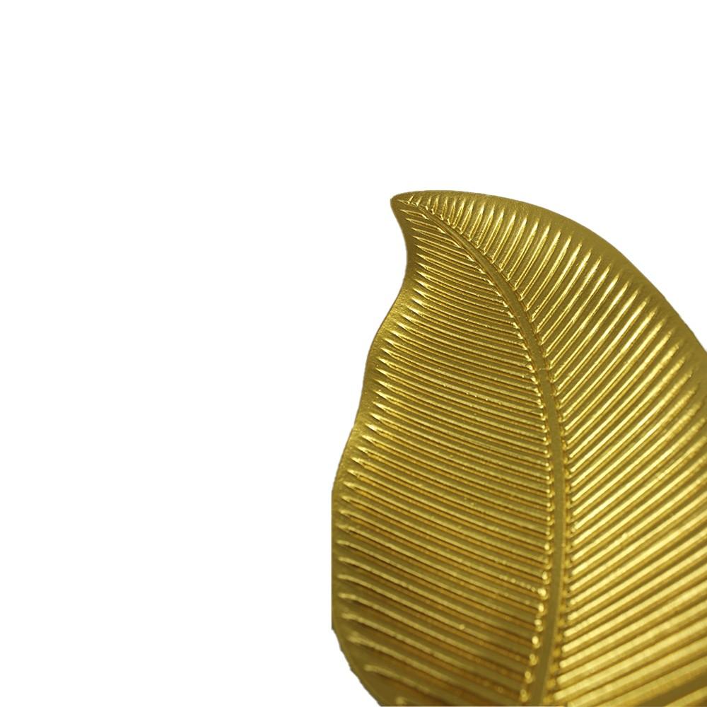 Bandeja Decorativa De Madeira Folha Dourado 33cm  - Shop Ud
