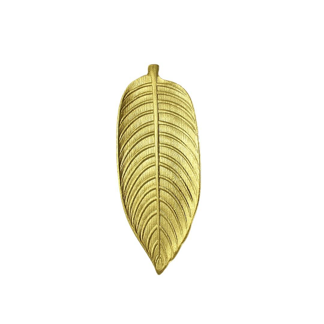 Bandeja Decorativa De Madeira Folha Dourado 44cm  - Shop Ud