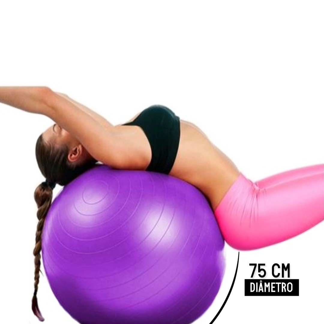 Bola Pilates Yoga Abdominal Ginastica 75cm Com Bomba - Lilás  - Shop Ud