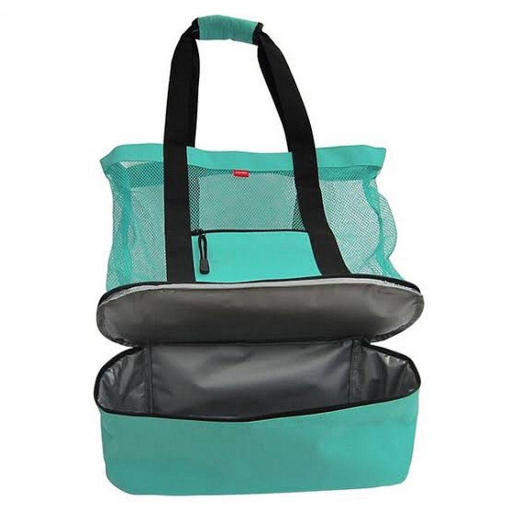 Bolsa de Praia com Compartimento Térmico - Verde Água  - Shop Ud