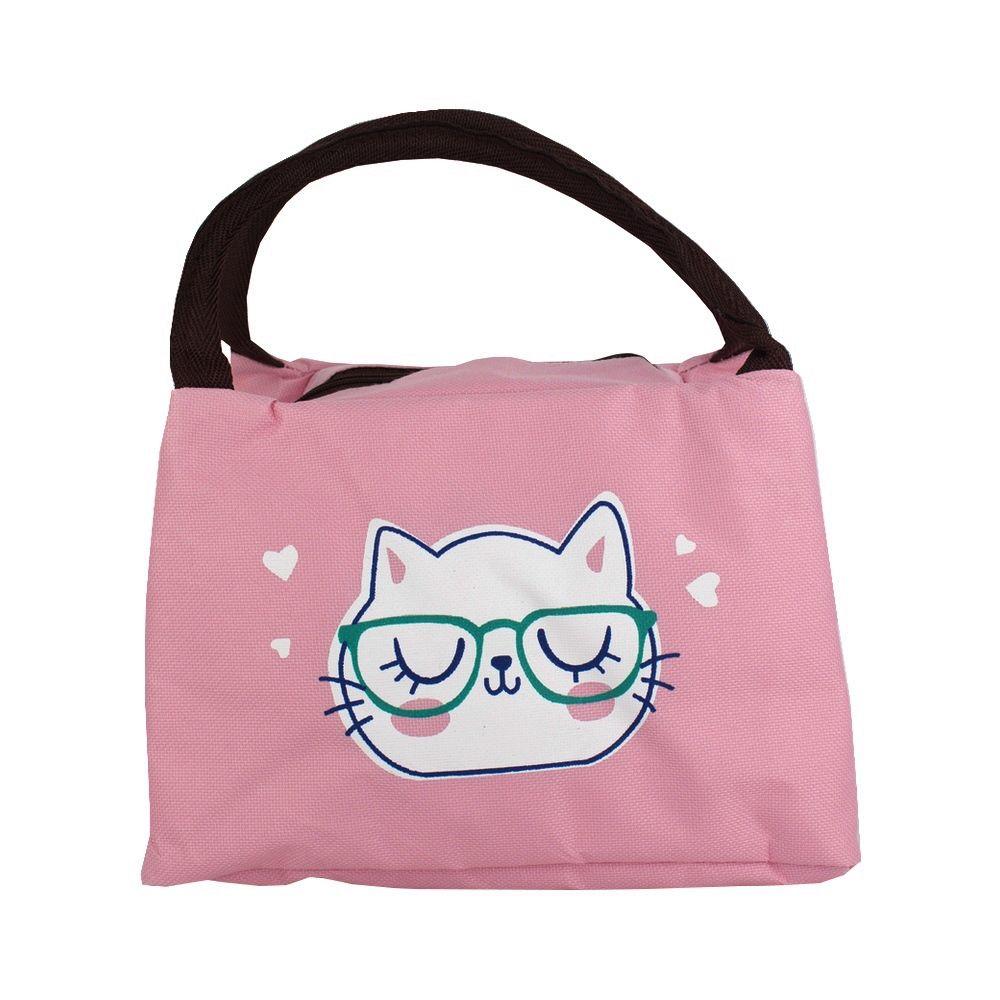 Bolsa Necessaire Térmica Marmita - Gata de Óculos Fundo Rosa  - Shop Ud