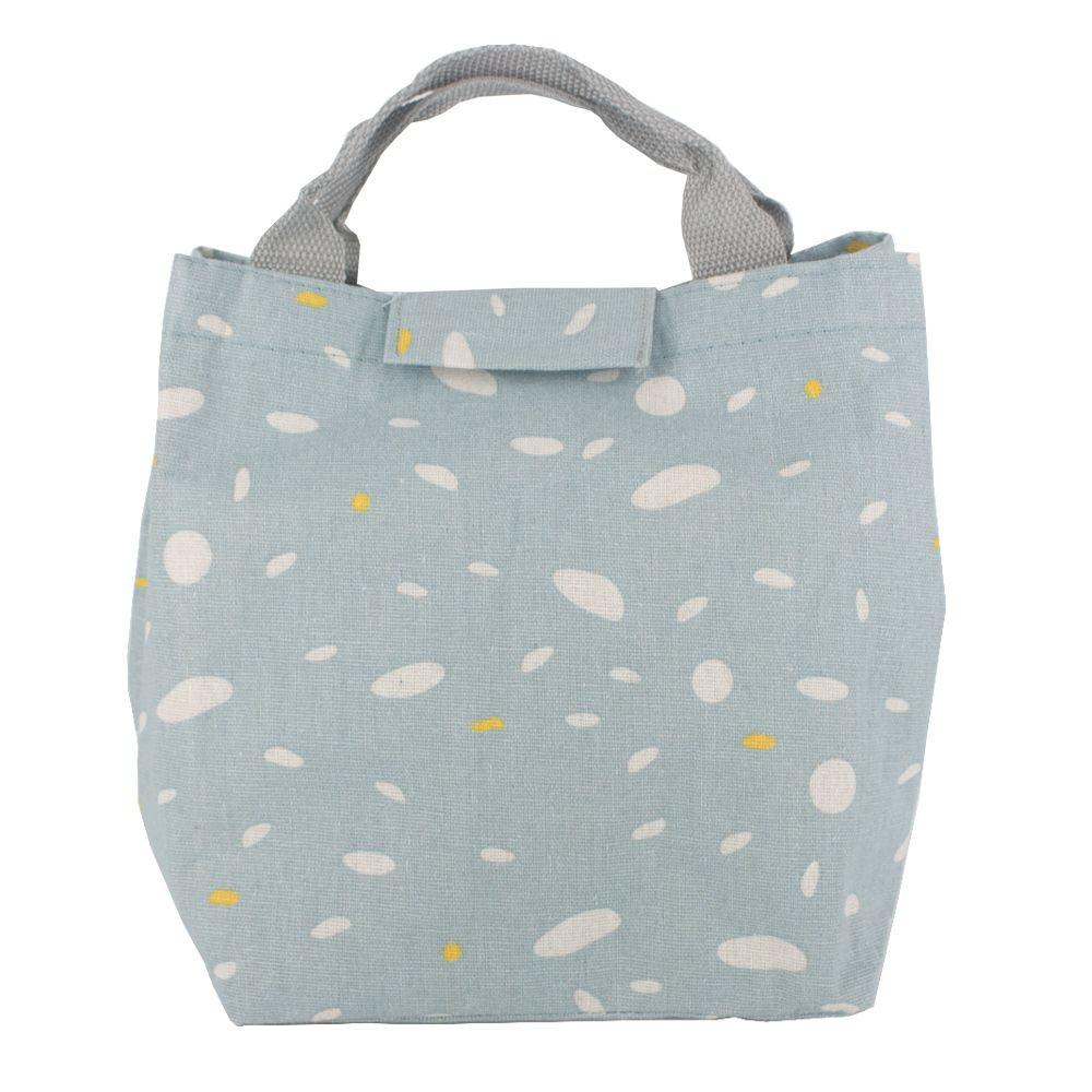 Bolsa térmica em Tecido Azul Claro, Branco e Detalhe Amarelo