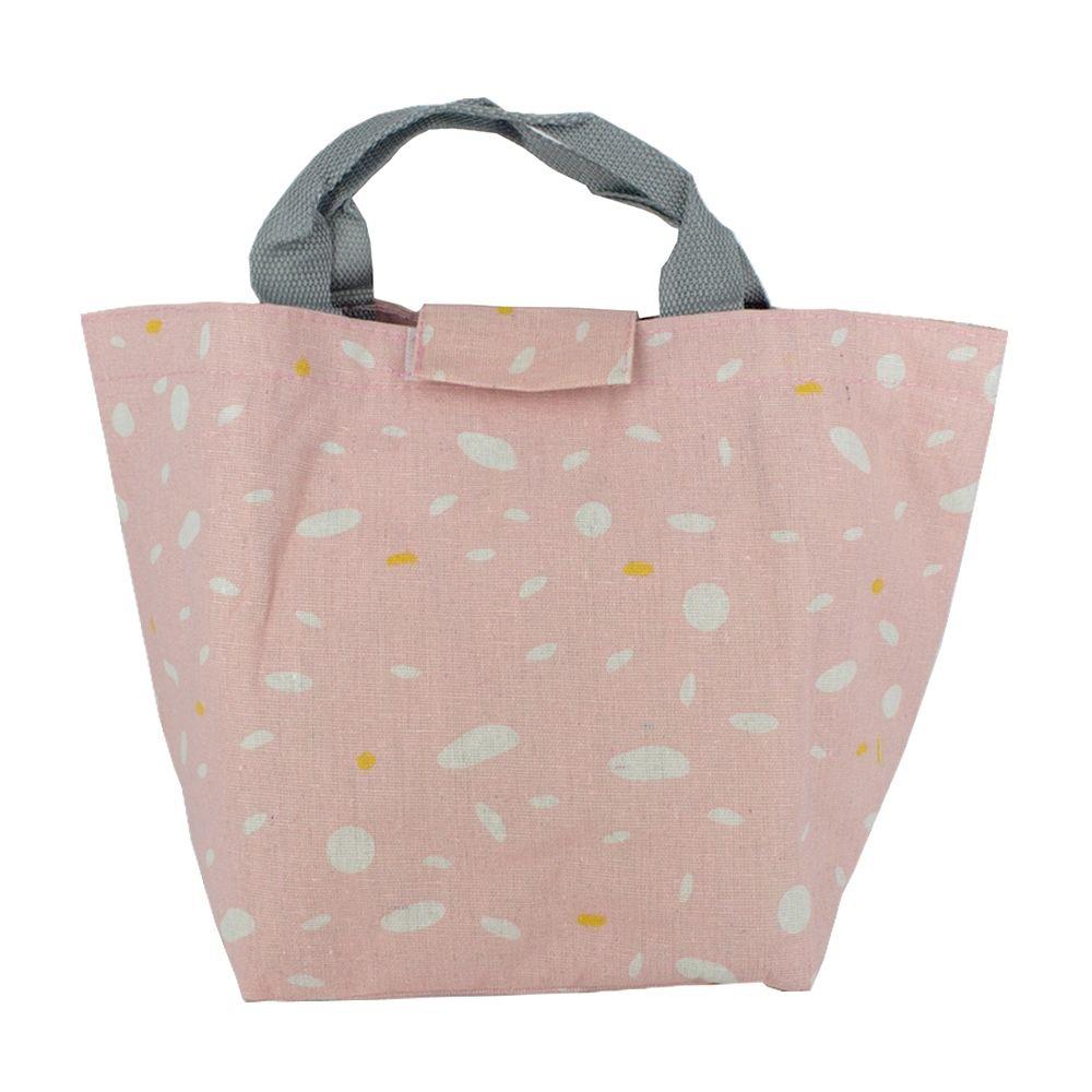 Bolsa térmica em Tecido - Rosa, Branco e Detalhes Amarelo  - Shop Ud