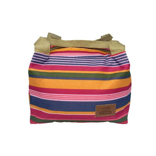 Bolsa Térmica Marmita Pequena Rosa com listras coloridas