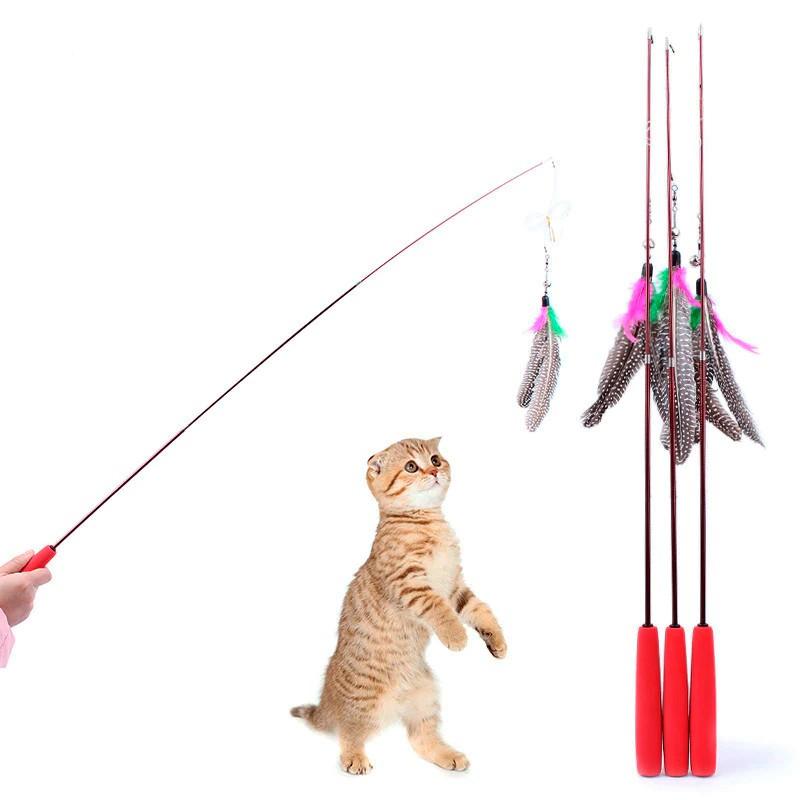 Brinquedo Varinha Retrátil Com Pena E Sino Para Gatos - 1m  - Shop Ud
