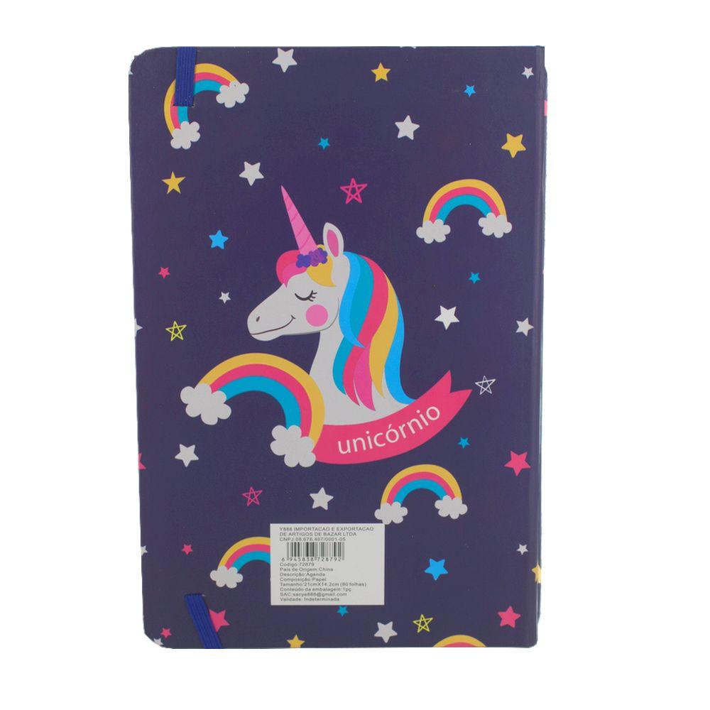 Caderno Diário Unicórnio Nuvem Arco Íris Fundo Azul 80 Fls  - Shop Ud