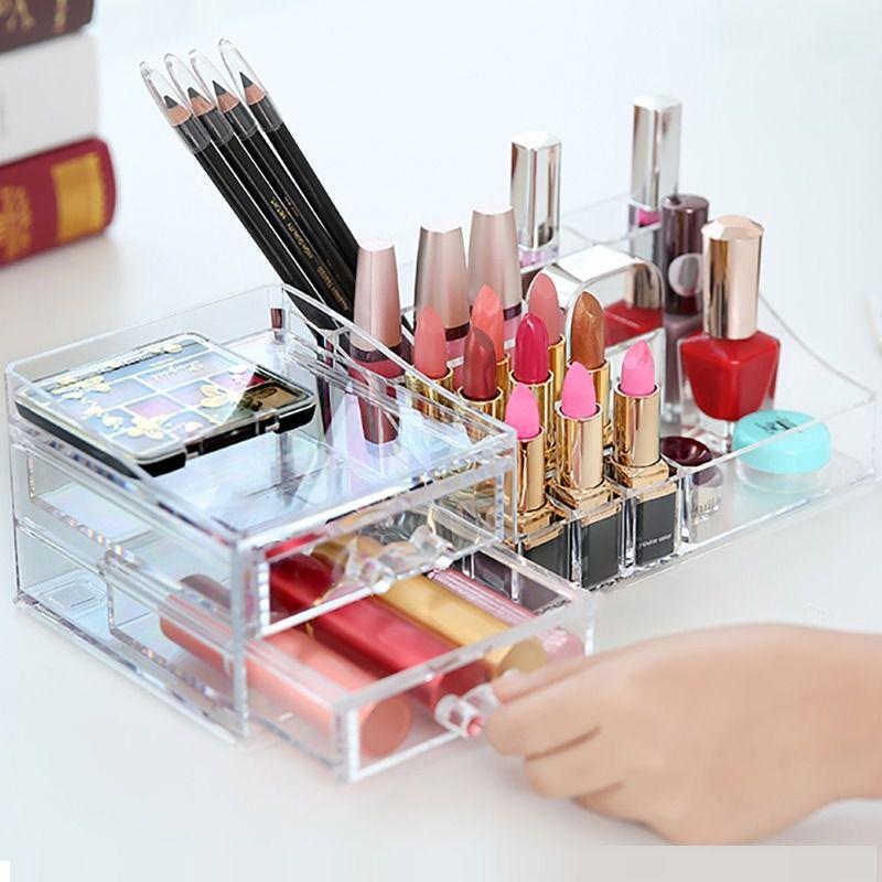 Caixa Acrílico Organizador Pincel Maquiagem Joias 2 Gavetas ns1532  - Shop Ud