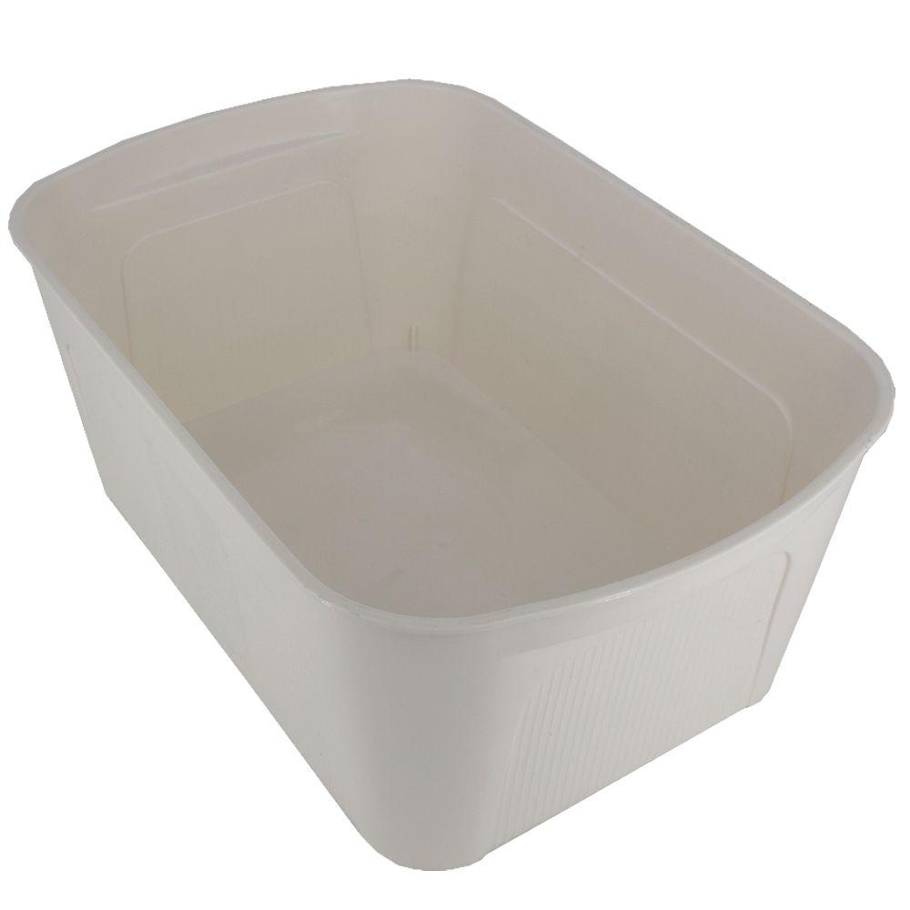 Caixa Organizadora de Plástico Bege com Tampa Cinza 34x23x14  - Shop Ud