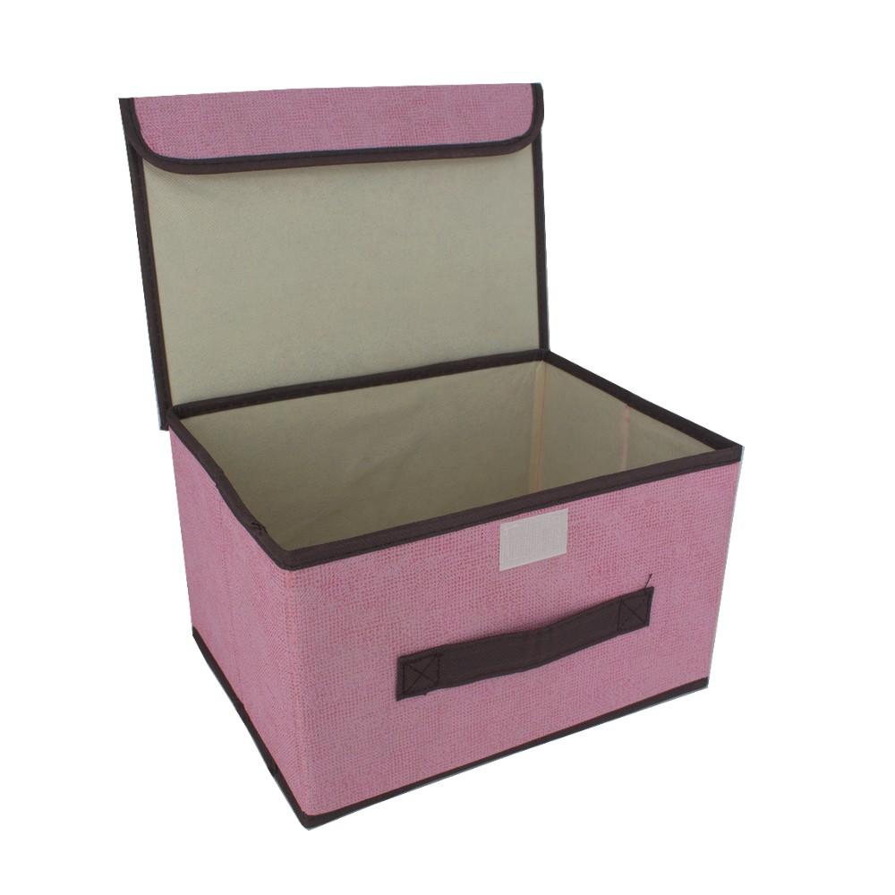 Caixa Organizadora Multiuso com Tampa - Rosa (26x20x16)  - Shop Ud